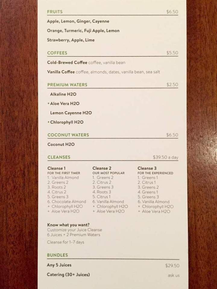 pressed juice menu